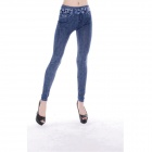 Sexy Women's Jeans Style Tight Polyester + Spandex Leggings / Pants - Blue + White (Free Size)