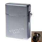2-in-1 Zinc Alloy Orange Flame Butane Gas Lighter w/ Cigarette Case - Grey