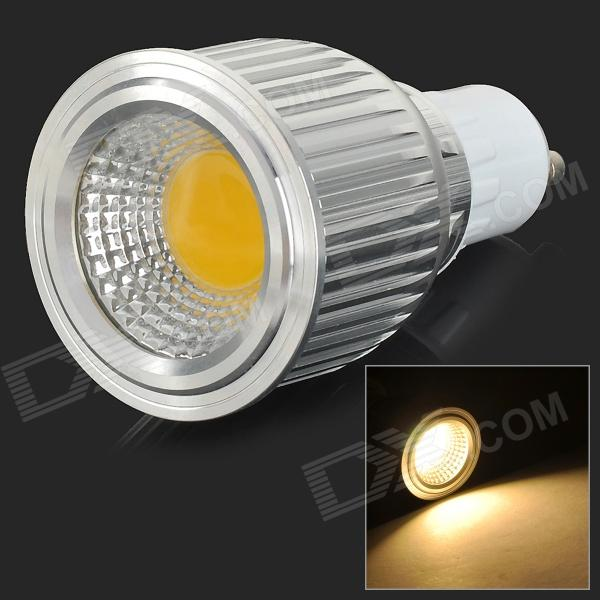 GU10 7W 650lm 3500K 1-COB LED Warm White Light Spotlight - White + Silvery Grey (AC 85~265V)
