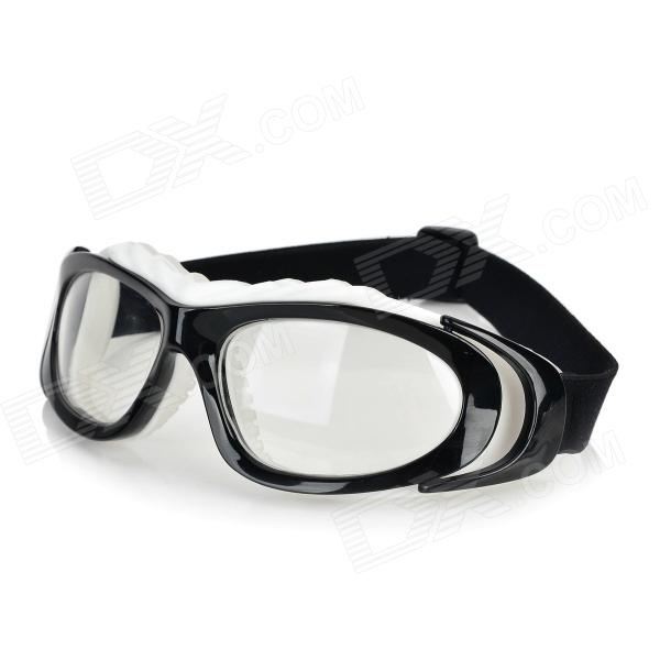 OPOLLY Plastic Frame PC Lens Sport Goggles - Black + White + Transparent 2017 new yohe full face motorcycle helmet yh 970 double lens motorbike helmets made of abs and pc lens with speed color 4 size