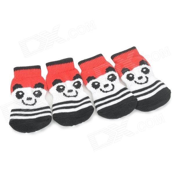 Cute Panda Pattern Cotton Socks for Pet Cat / Dog - White + Red + Black (XL)