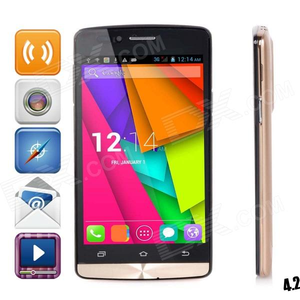 M3 MT6572 Dual-Core Android 4.2.2 WCDMA Bar Phone w/ 4.5 Capacitive, Wi-Fi, GPS, FM - Champagne Gold