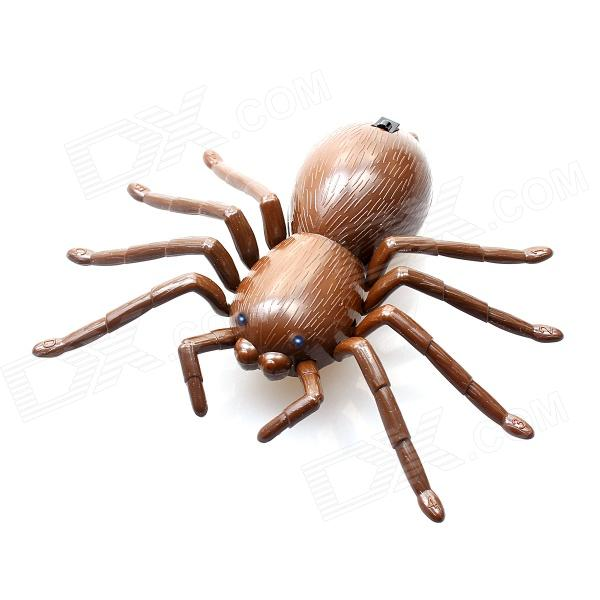 4-CH IR Remote Control R/C Spider Toy - Coffee  infrared remote control scary creepy plush spider tarantula prank toy kid gift