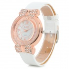 LUQI A08 Women's Stylish Rhinestone-inlaid Analog Quartz Wristwatch - Rose Gold + White (1 x 626)