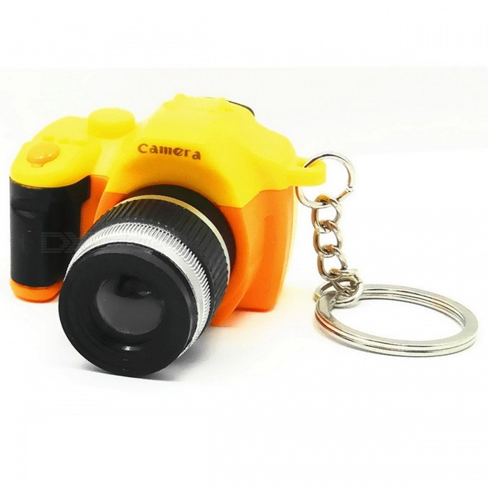 Creative Camera Style LED White Flashlight Keychain w/ Sound - Yellow + Orange (3 x AG10)