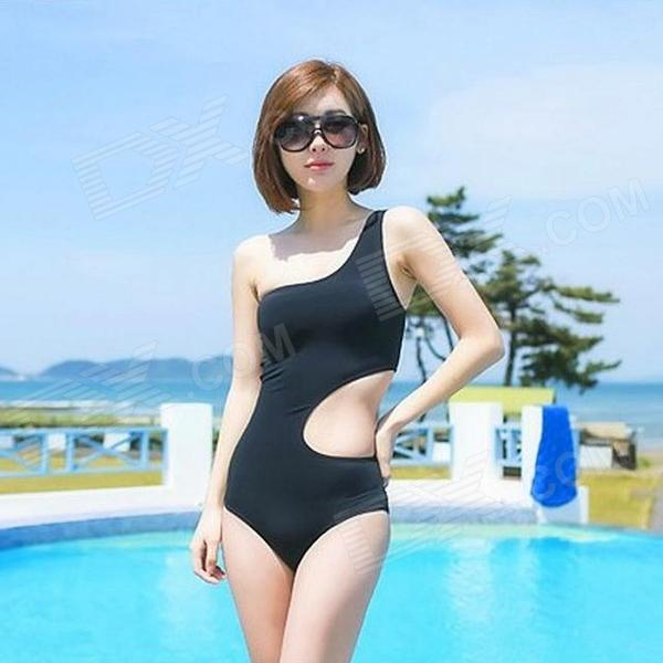 Womens Sexy One Piece Side Hollow Out Single Shoulder Irregular Swimwear Swimsuit - Black (L)Water Sport<br>Color Black Brand N/A Model N/A Quantity 1 Piece Material Dacron Size L Gender Womens Type Swimsuits Chest Girth 92~95 cm Waist Girth 71~75 cm Hip Girth 97~100 cm Other Features With wireless chest pad. Packing List 1 x Swimsuit<br>