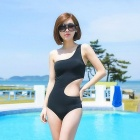 Women's Sexy One Piece Side Hollow Out Single Shoulder Irregular Swimwear Swimsuit - Black (L)