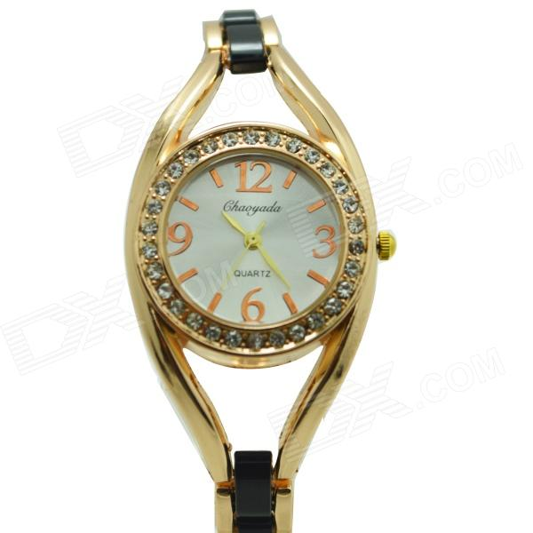 Women's Fashionable Crystal Studded Analog Quartz Bracelet Wrist Watch - Black + Golden weiqin luxury gold wrist watch for women rhinestone crystal fashion ladies analog quartz watch reloj mujer clock female relogios
