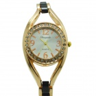 Women's Fashionable Crystal Studded Analog Quartz Bracelet Wrist Watch - Black + Golden
