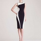 RZ_OM0011 Women's Classy Elegant Round Neck Bodycon Midi Dress - White + Black (XL)