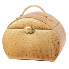 VLANDO V14005 Handcraft Ostrich Grain Luxurious Jewelry Box - Gold