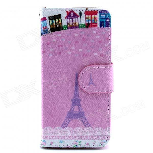 Eiffel Tower Pattern Flip-open PU Leather Case w/ Stand / Card Slots for IPHONE 5 / 5S - Pink eiffel tower pattern protective pu leather flip open case w stand card slots for moto g2