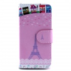 Eiffel Tower Pattern Flip-open PU Leather Case w/ Stand / Card Slots for IPHONE 5 / 5S - Pink