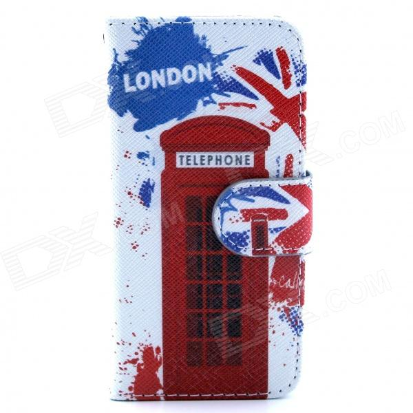 Telephone Booth Pattern Flip-open PU Leather Case w/ Stand + Card Slot for IPHONE 5 / 5S protective flip open pu pc case w stand card slot for iphone 6 plus 5 5 pink