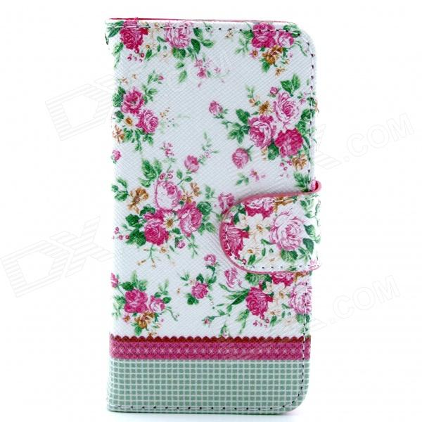 Flower Pattern Flip-open PU Leather Casew/ Stand + Card Slot for IPHONE 5 / 5S cute owl pattern pu leather flip open case w stand card slot for iphone 4 4s multi color