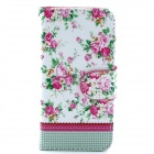 Flower Pattern Flip-open PU Leather Casew/ Stand + Card Slot for IPHONE 5 / 5S