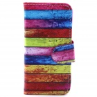 Rainbow Pattern Flip-open PU Leather Case w/ Stand + Card Slot for IPHONE 5 / 5S