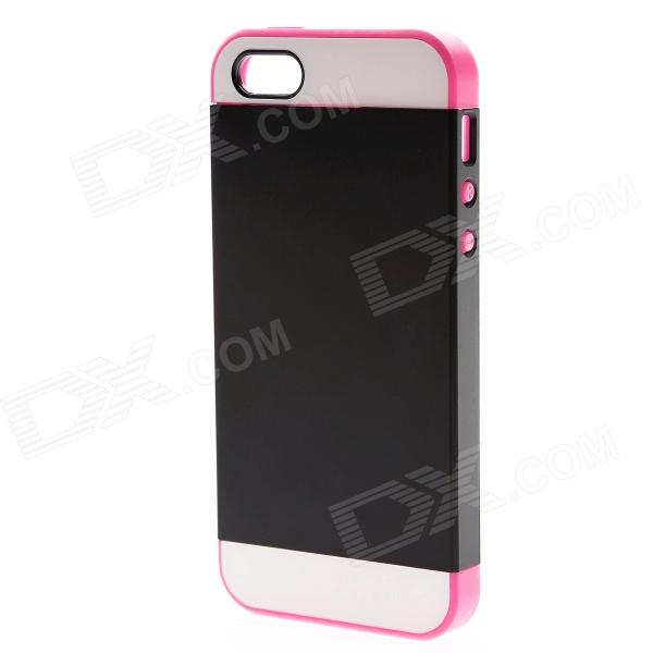 Link Dream Colorblock Protective TPU + PC Back Case for IPHONE 5S - Black + Deep Pink