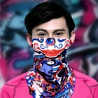Wild Color VC1407 Outdoor Cycling V-shaped Headband / Face Mask / Neck Scarf - Red + Blue