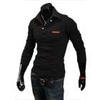 7-B12 Men's Casual Simple Long Sleeved POLO Shirt - Black (XL)