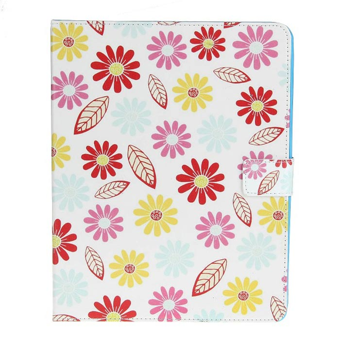 все цены на Stylish Flower Pattern Protective PU Leather Case for IPAD 2 / 3 / 4 - White + Pink + Multicolored онлайн
