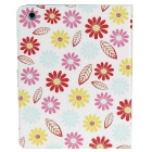 Stylish Flower Pattern Protective PU Leather Case for IPAD 2 / 3 / 4 - White + Pink + Multicolored
