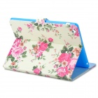 Stylish Peony Pattern Protective PU Leather Case for IPAD 2 / 3 / 4 - Pink + Multicolored