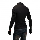 7-B12 Men's Casual Simple Long Sleeved POLO Shirt - Black (L)