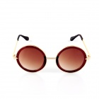 SYS0032 Women's Round Zinc Alloy Frame Resin Lens UV400 Sunglasses - Golden + Black + Tawny