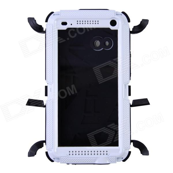 Redpepper Aluminum Alloy + Silicone Waterproof Shockproof Case for HTC One M7 - Black + White