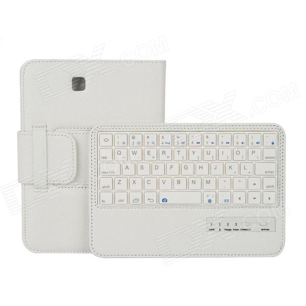 EPGATE Wireless Bluetooth V3.0 Keyboard + Protective PU Leather Case for Samsung Tab4 T230 - White