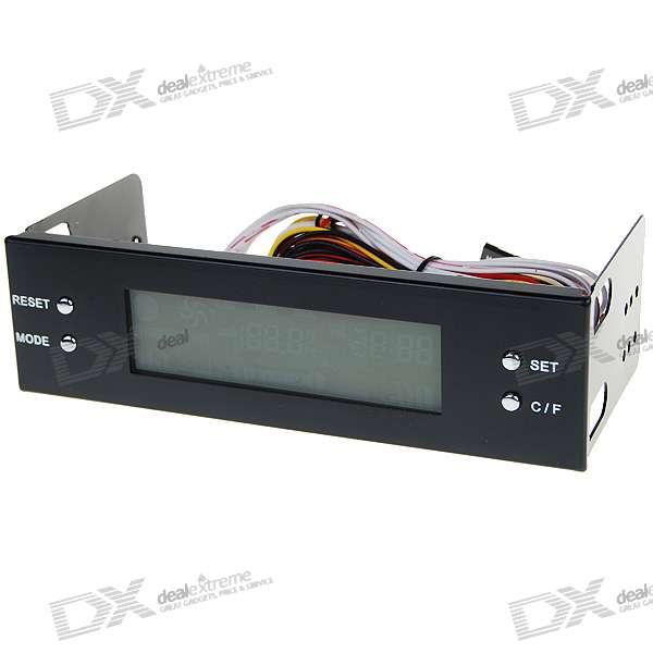 "5.25"" PC Chassis Front Panel 3.2"" LCD Temperature + Fans Controller Panel"