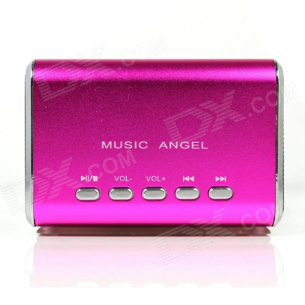 MD-05 Mini USB Rechargeable MP3 Player Speaker w/ TF Slot / LED Light - Deep Pink