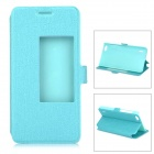 Slim Leather Flip Window Cover Case w/ Stand for Huawei Honor 6 - Blue