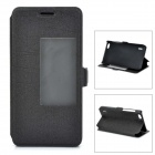 Slim Leather Flip Window Cover Case w/ Stand for Huawei Honor 6 - Black