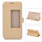 Slim Leather Flip Window Cover Stander Case w/ Stand for Huawei Honor 6 - Gold