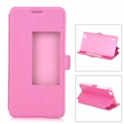 Slim Leather Flip Window Cover Case w/ Stand for Huawei Honor 6 - Deep Pink