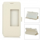 Slim Leather Flip Window Cover Case w/ Stand for Huawei Honor 6 - Beige