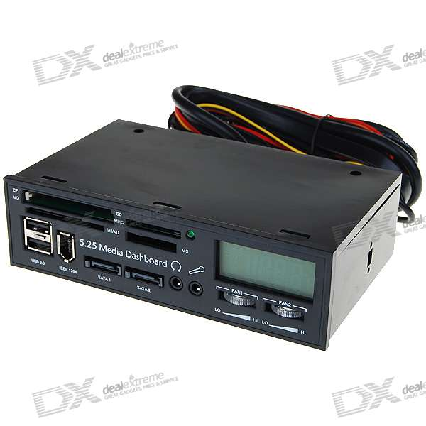 5 25 Pc Chassis Front Panel Temperature Display Lcd Card Reader W 2 Usb 1394 Sata 2 3 5mm Audio 34062