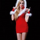 ZhengLi ZL3740 Sexy Christmas Party Cosplay Costume Hooded Dress Outfit - Red + White (Free Size)