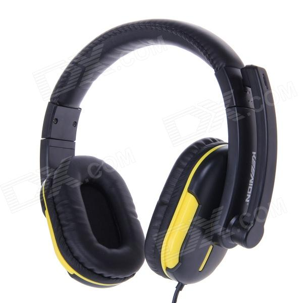 KEENION KDM-1009 3.5mm Wired Stereo Headphones w/ Microphone - Black + Yellow keenion kdm 311a 3 5mm wired stereo game headset w microphone black