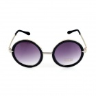 SYS0032 Women's Round Zinc Alloy Frame Resin Lens UV400 Protection Sunglasses - Black + Silver