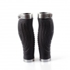 PJ-0023 Mountain Bike Anti-skid Handlebar Grip Cover - Black + Silver-gray  (2 PCS)