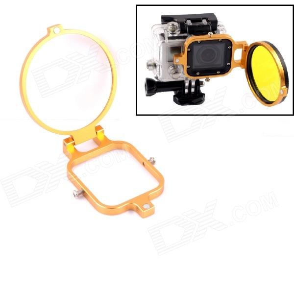 PANNOVO 58mm Underwater Color-Correction Diving Filter Converter Ring for Gopro Hero 3 - Golden
