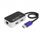 CY U3-166 USB 3.0 Dual Port Hub & TF Card Reader & 1000M Gigabit Ethernet Combo Adapter - Black