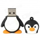 Cartoon Penguin Style Rubber + Aluminum Alloy USB 2.0 Flash Drive - Black + White (64GB)