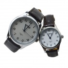 MIKE 8804 PU Leather Band Analog Quartz Wrist Couple's Watch - Brown (Pair)