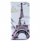Effier Tower Pattern Flip-open PU Leather Case w/ Stand / Card Slot for IPHONE 5 / 5S - White + Grey