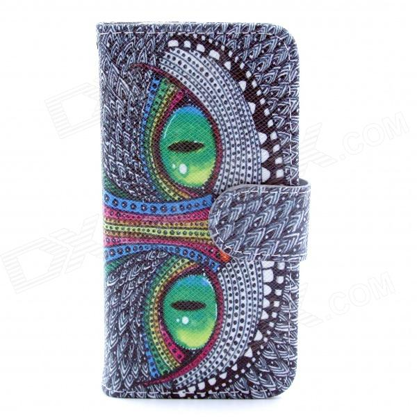 Owl Eyes Pattern Flip-open PU Leather Case w/ Stand / Card Slot for IPHONE 5 / 5S - Grey + Green anchor pattern flip open pu leather case w stand card slots for iphone 5 5s black green