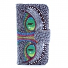 Cheshire Cat Pattern Flip-open PU Leather Case w/ Stand / Card Slot for IPHONE 5 / 5S - Grey + Green